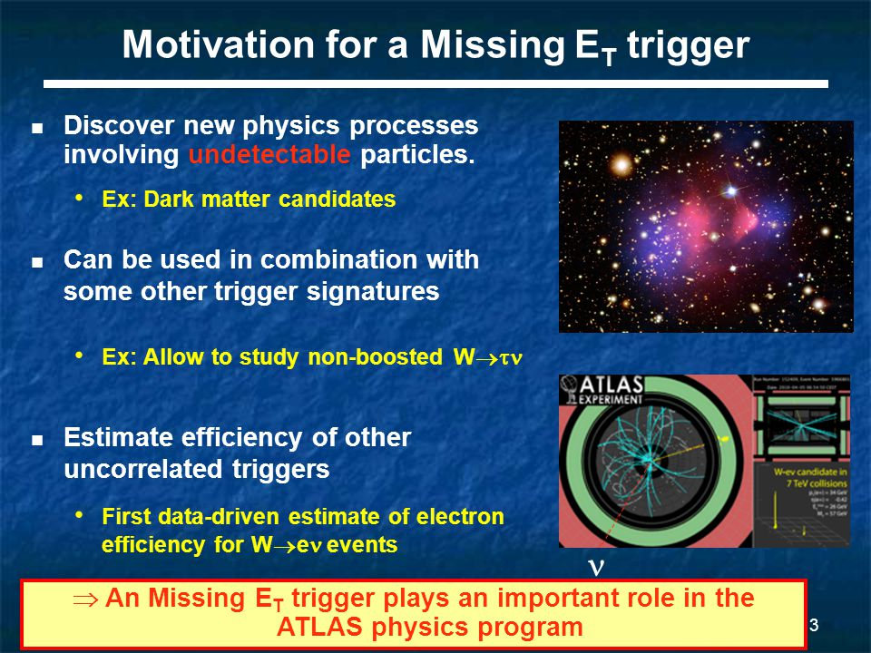 4 Missing E T at Level 1: an overview Trigger Towers (TT) are built:  sum of calo cells in an  -  range of ~0.1x0.1, over full depth of each calo Calorimeter Pre-processor (PPr) Jet/Energy processor Jet Elements (JE) are formed  Digitalize TT E T signal  Apply noise subtraction  Sum 4 TT, HAD and EM Missing E T is computed  Ex and Ey are computed from JEs  A Look Up Table tells, from E X and E Y, which Missing E T thresholds passed  Communicate results to the CTP
