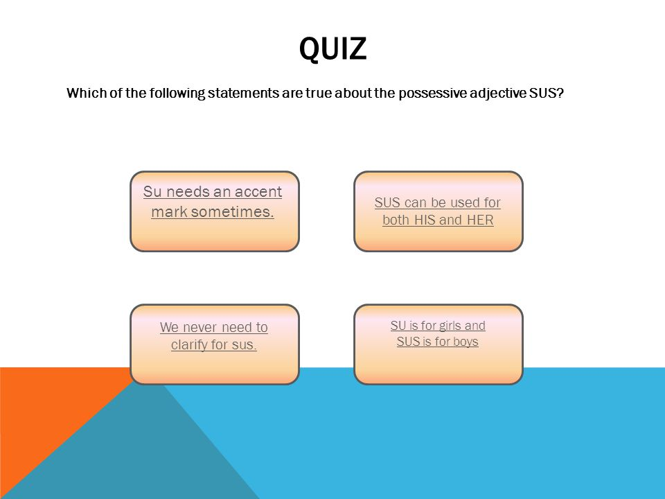 QUIZ Which of the following statements are true about the possessive adjective SUS.