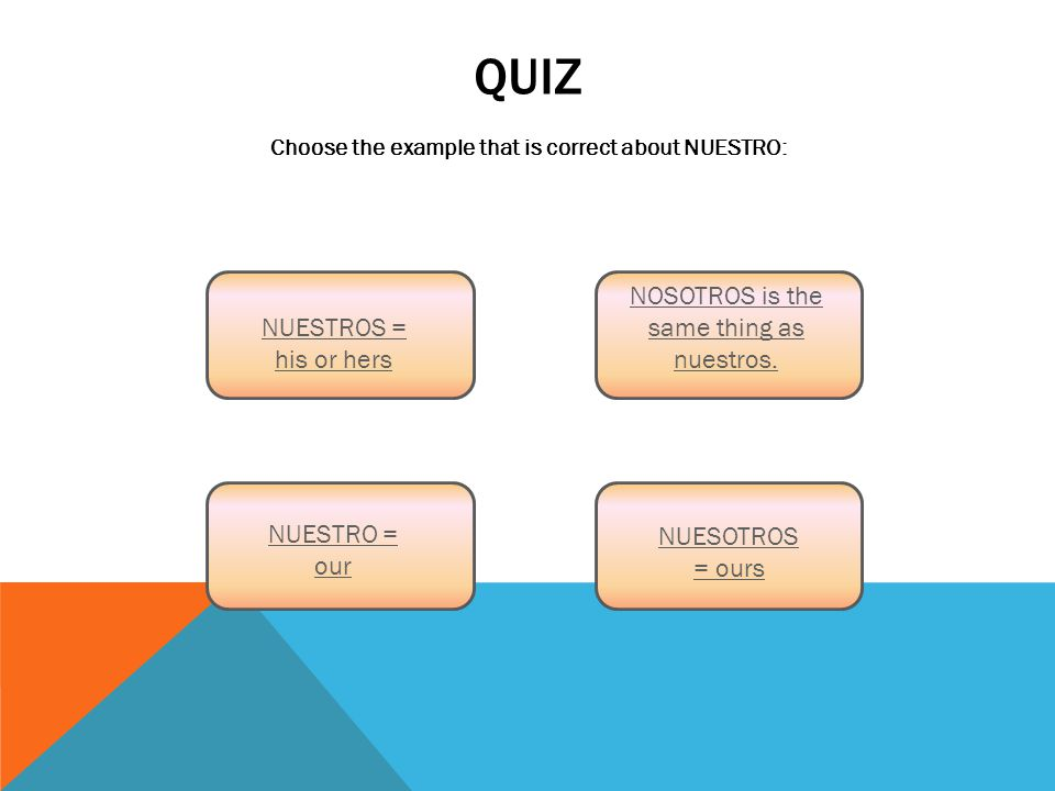 QUIZ Choose the example that is correct about NUESTRO: NUESTROS = his or hers NOSOTROS is the same thing as nuestros.
