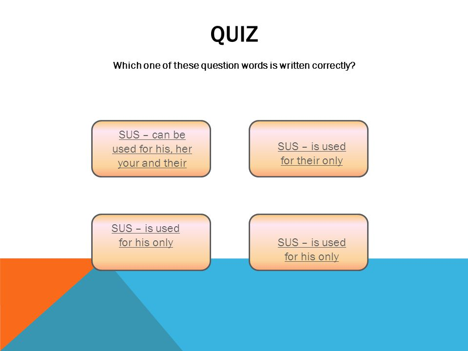 QUIZ Which one of these question words is written correctly.