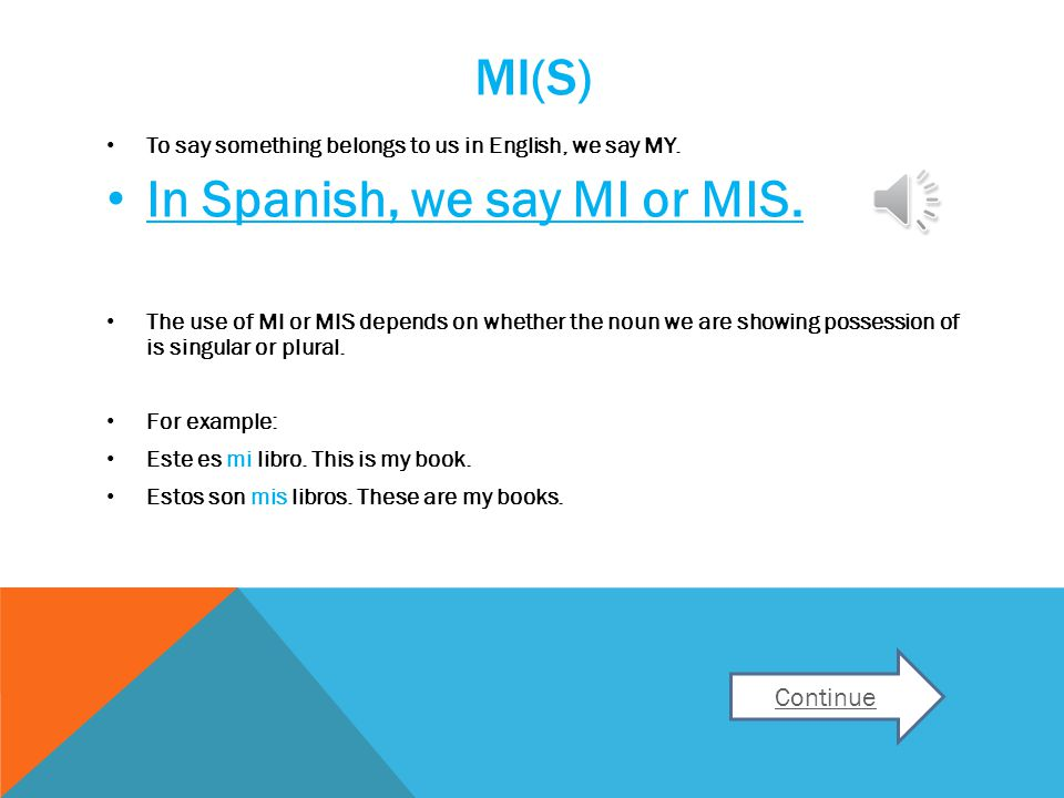 MI(S) To say something belongs to us in English, we say MY.