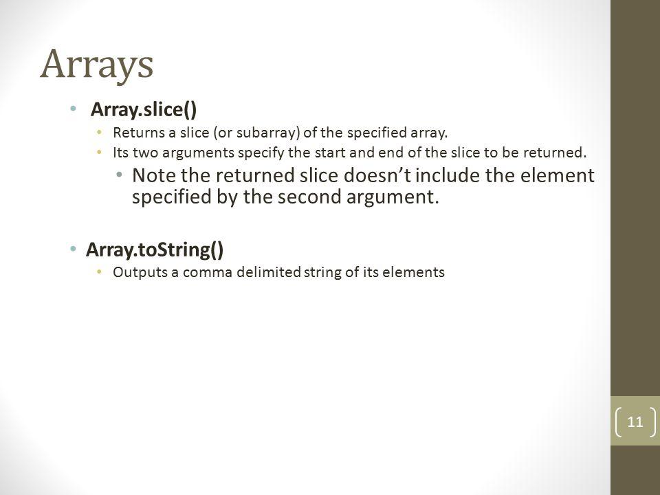 Array.Slice() Array1 var book = new Array(4); book[0] = Harry Potter ; book[1] = Da Vinci Code ; book[2] = The Kite Runner ; book[3] = The Client ; document.write(book.slice(0,2)); Output - .