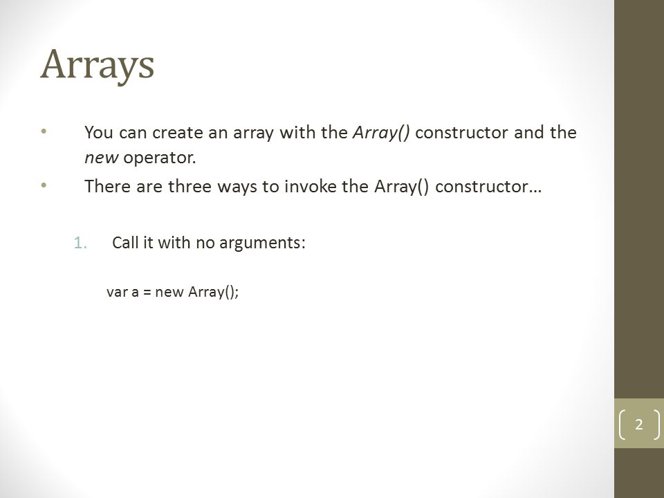 Arrays 2.