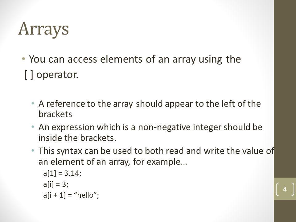 Array1 var book = new Array(4); book[0] = Harry Potter ; book[1] = Da Vinci Code ; book[2] = The Kite Runner ; book[3] = The Client ; for (i=0; i<4; i++) { document.write(book[i] + ); } 5