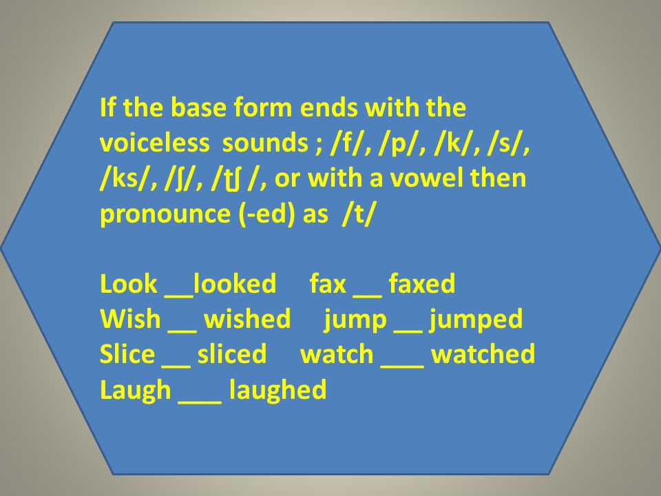 If the base form ends with the voiceless sounds ; /f/, /p/, /k/, /s/, /ks/, /ʃ/, /ʈʃ /, or with a vowel then pronounce (-ed) as /t/ Look __looked fax __ faxed Wish __ wished jump __ jumped Slice __ sliced watch ___ watched Laugh ___ laughed