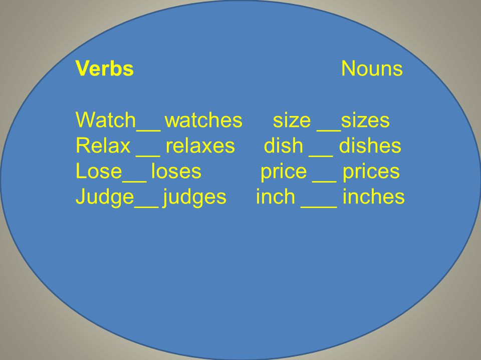 Verbs Nouns Watch__ watches size __sizes Relax __ relaxes dish __ dishes Lose__ loses price __ prices Judge__ judges inch ___ inches