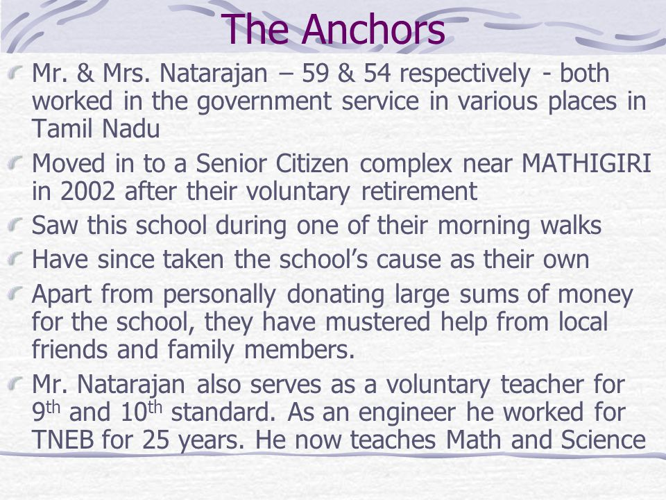 The Progress Card AreaStatus 2002Status 2004 Infrastructure (Building) 7 new class were rooms required Compound Wall, Gate, 3 Toilets for Girls and Boys 5 new class rooms, Compound Wall and Gate were funded by Mr.& Mrs.