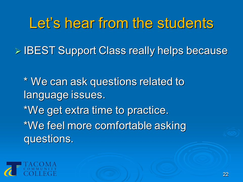 IBEST Support doesn't really help when…  The ESL support instructor doesn't know the content. 23