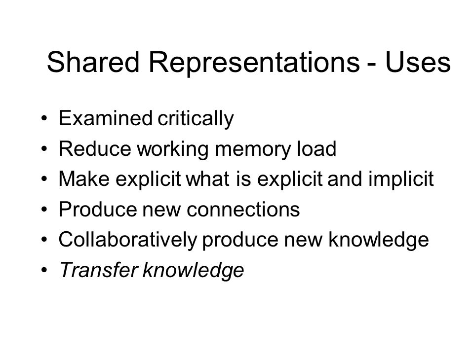 Shared representations - Attributes Help establish a shared representation Facilitate desired social processes (and cognitive processes) Provide strategically chosen ambiguity Make differences and relationships apparent Facilitate 'group thinking' Provide meaningful structure, content, and appearance to creators and consumers
