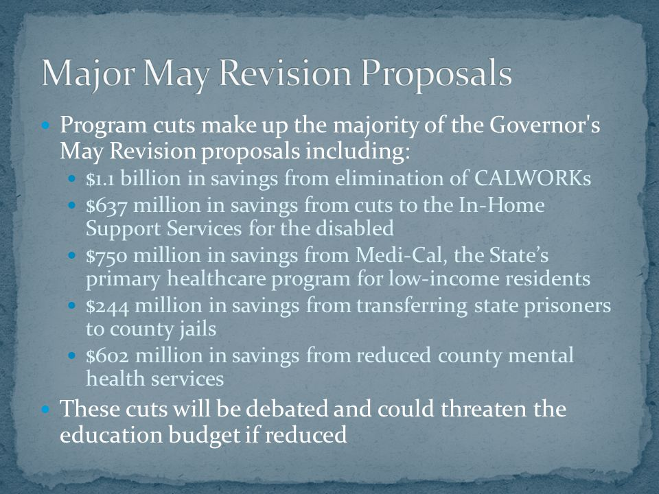 The -0.38% COLA is revised to -0.39% About $0.61 per ADA Not significant The January Budget proposed cutting $1.5 billion from revenue limits and targeting the reduction to school administration This proposal called for a $201 per ADA reduction to revenue limits