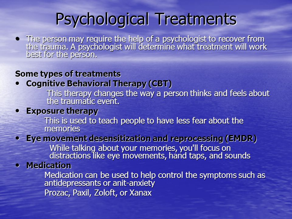 Avoid the following when helping a person with PTSD Never force the person to talk about the traumatic event.