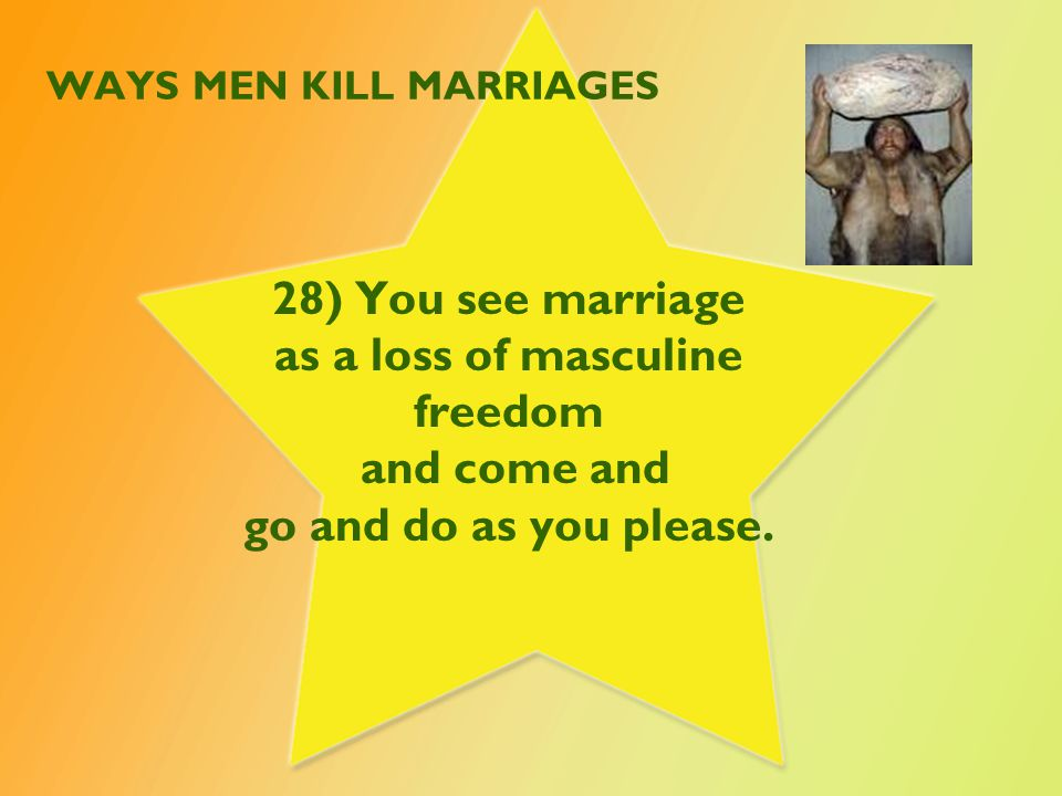 WAYS MEN KILL MARRIAGES 29) Unwilling to say I'm sorry or taking responsibility for wrong.