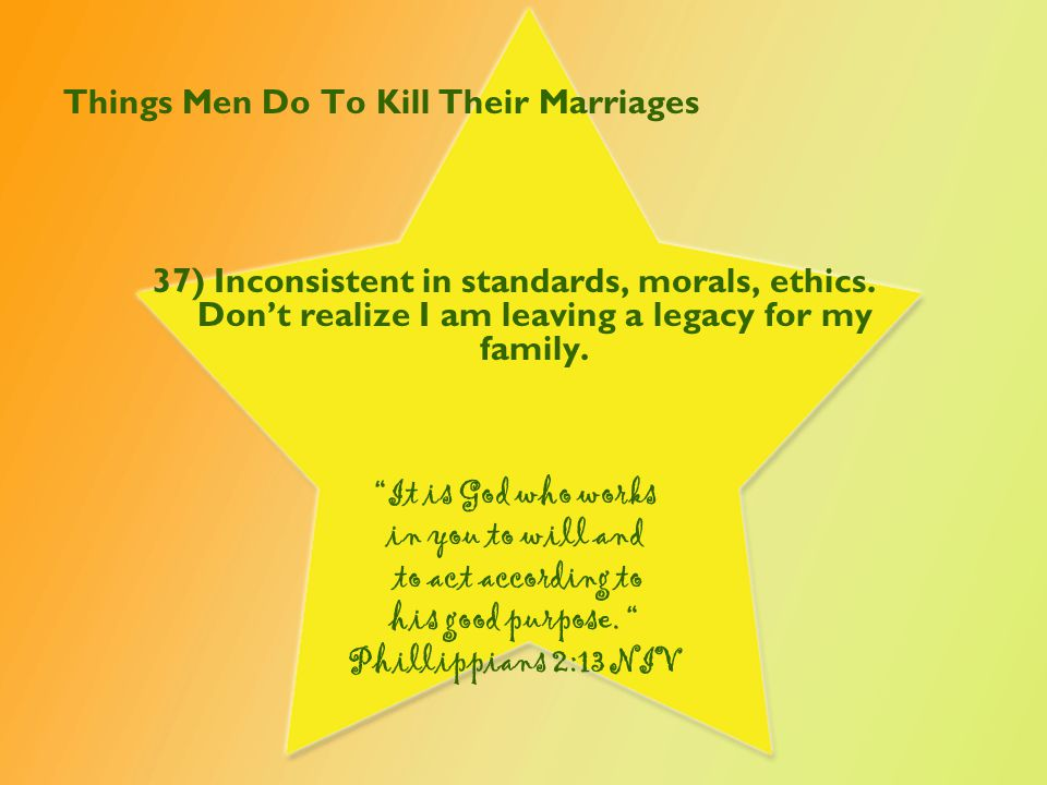 Things Men Do To Kill Their Marriages 38) Not Spending Time with Other Men for friendship, prayer and accountability.