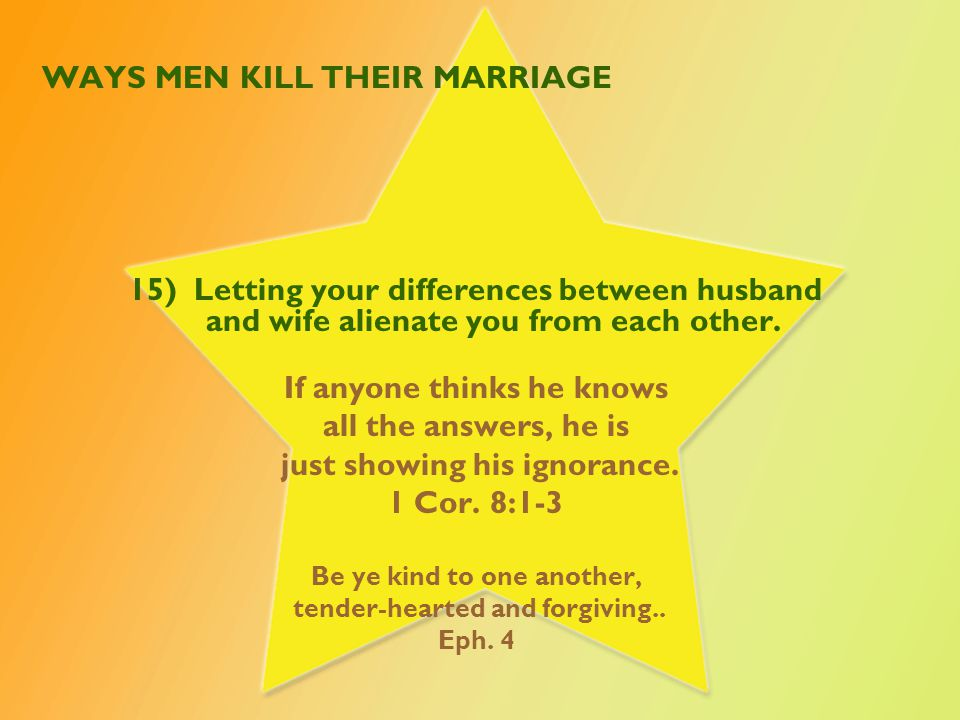 WAYS MEN KILL THEIR MARRIAGE 16) Refusing to get help for medical, emotional or mental health issues.