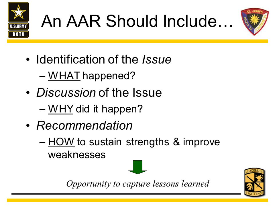 An AAR is NOT… A lecture A discussion of minor events A gripe session Intended to embarrass anyone