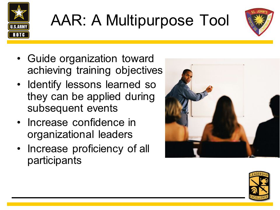 That sounds great, but we're NOT the Army… How the AAR can work in the civilian work place: Creates a climate of trust and openness Brings learning to a deeper level which increases ownership Team's participation ensures that a lesson was actually learned It is a system to disseminate lessons learned from one team to the rest of the organization