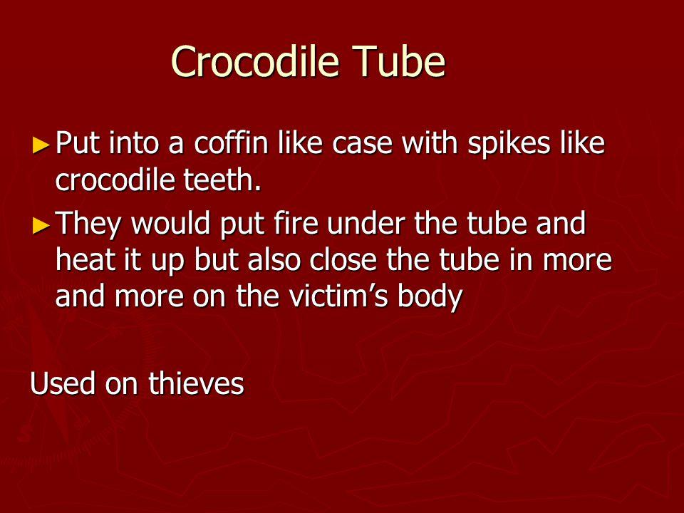 Crocodile Tube ► Put into a coffin like case with spikes like crocodile teeth.