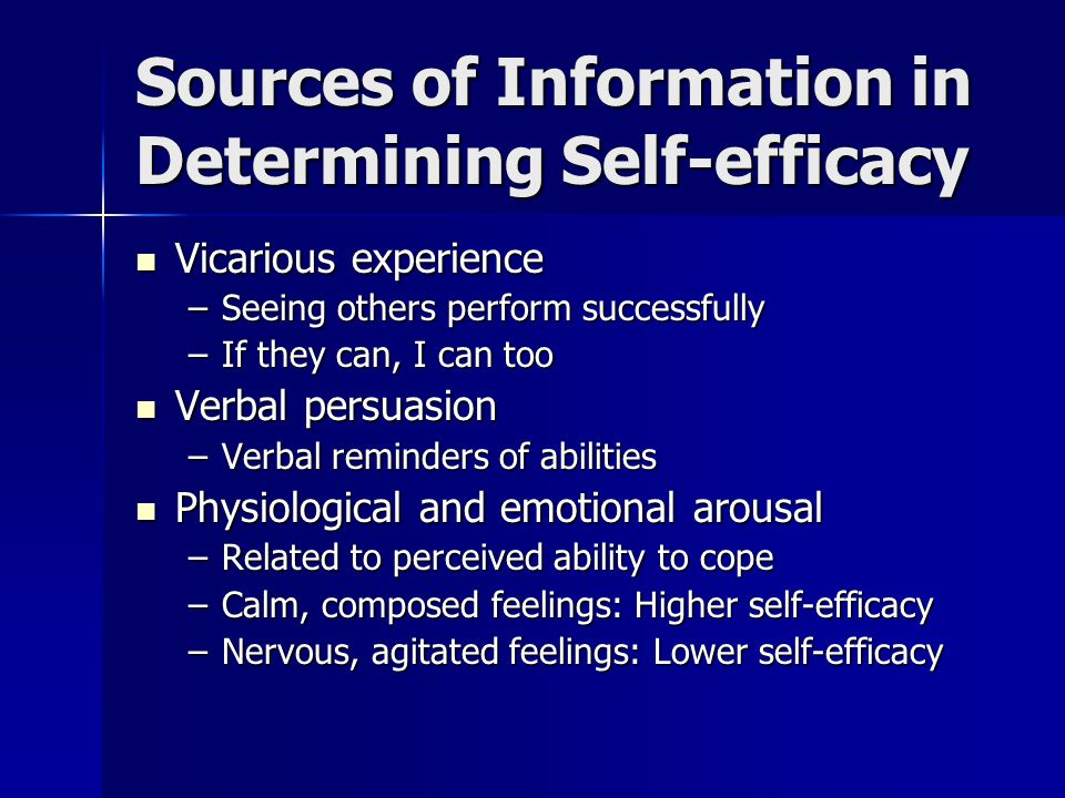Developmental Stages of Modeling and Self-efficacy Childhood Childhood –Infancy: Direct modeling immediately following observation, develop self- efficacy with control over environment –By age 2: Developed attentional, retention and production processes to model behavior some time after observation, not immediately