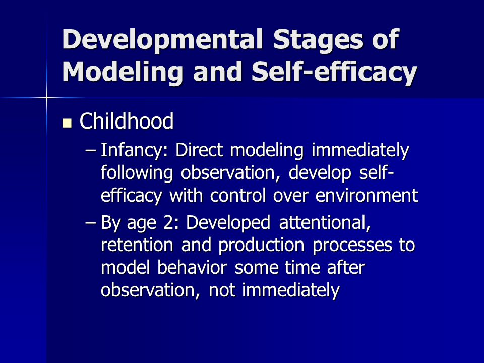 Developmental Stages of Modeling and Self-efficacy Adolescence Adolescence –Involves coping with new demands –Success depends on level of self-efficacy established during childhood
