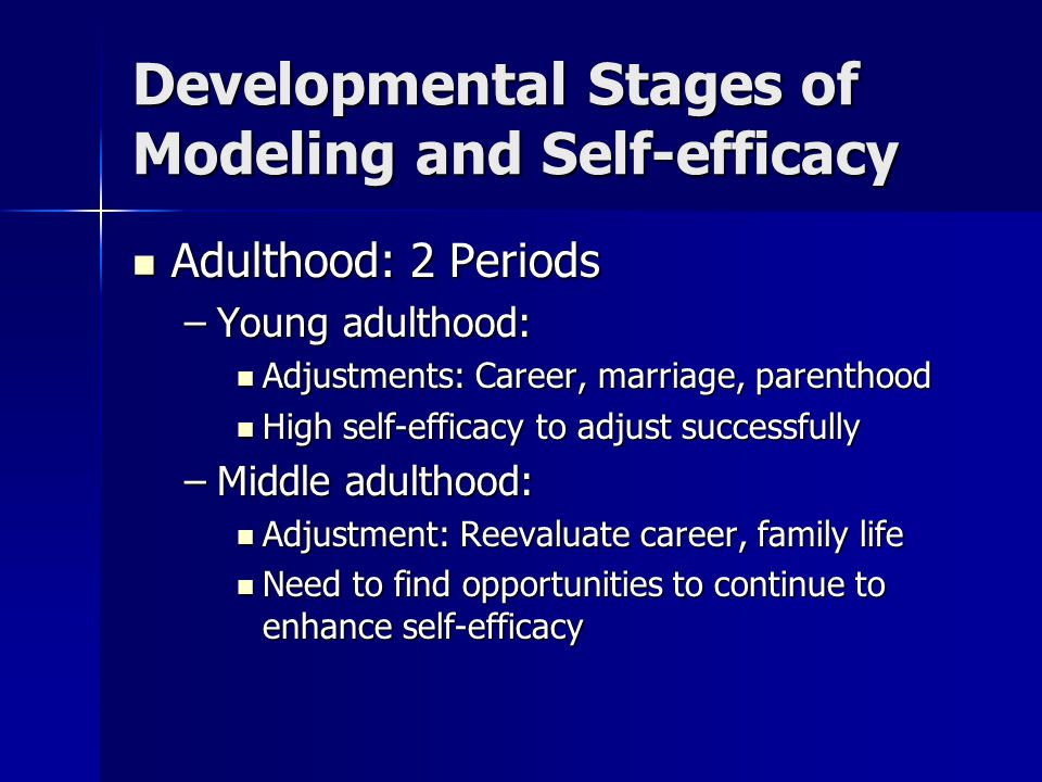 Developmental Stages of Modeling and Self-efficacy Old age: Old age: –Decline in mental/physical function, retirement –Requires reappraisal of abilities –Belief in ability to perform a task is key throughout the lifespan