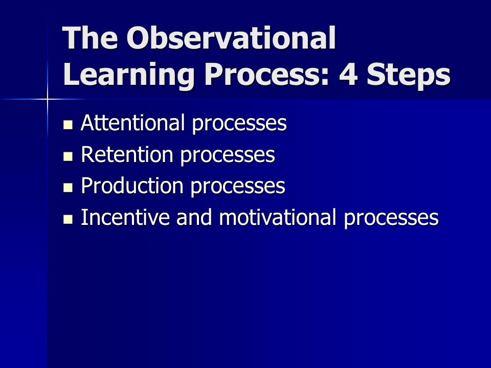 Step 1: Attentional Processes Developing cognitive processes to pay attention to a model- more developed processes allow for better attention Developing cognitive processes to pay attention to a model- more developed processes allow for better attention Must observe the model accurately enough to imitate behavior Must observe the model accurately enough to imitate behavior