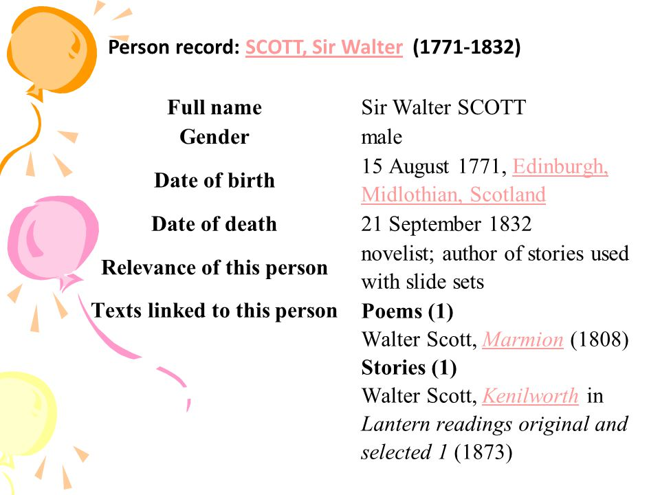 A Short Biography Walter Scott was born in Edinburgh, as the son of a solicitor Walter Scott and Anne, a daughter of professor of medicine.