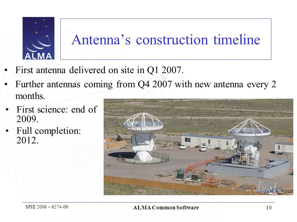 11 SPIE 2006 – 6274-06 ALMA Common Software ALMA Computing Large but extremely distributed team 40 Full Time Equivalent for whole E2E sw => Total development effort to 2011 ~280 FTE-years Staff in 14 Institutions Europe/North America/Japan