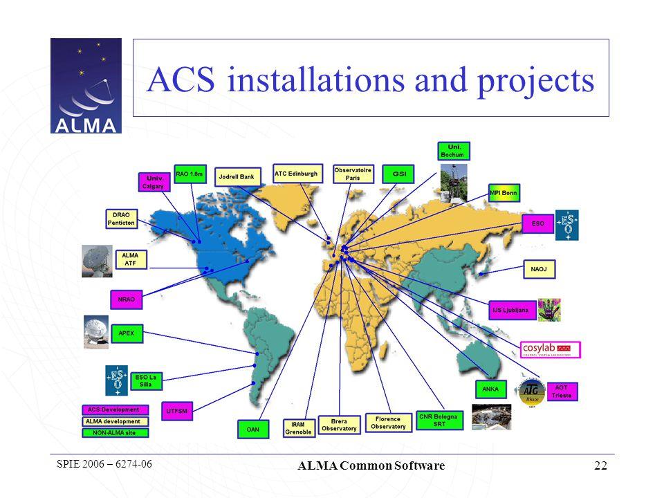 23 SPIE 2006 – 6274-06 ALMA Common Software The ACS community HPT Hexapod Telescope (Germany → Chile) Sardinian Radio Telescope (Italy) OAN 30m (Spain) ALMA (Chile) ANKA (Germany) APEX (Chile)