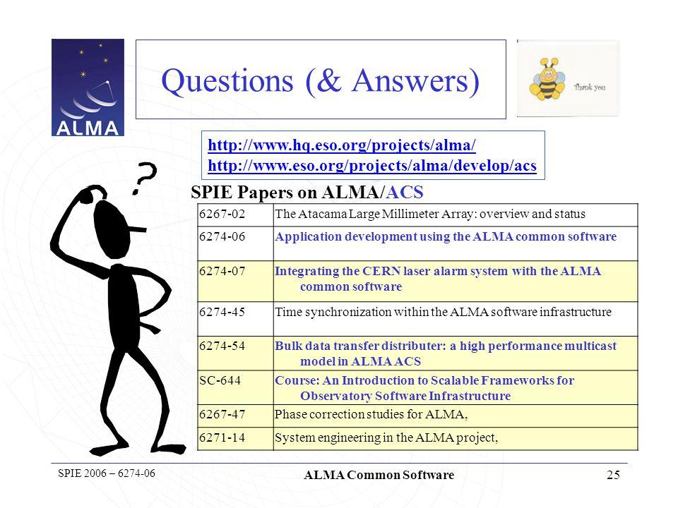 26 SPIE 2006 – 6274-06 ALMA Common Software Reserve slides