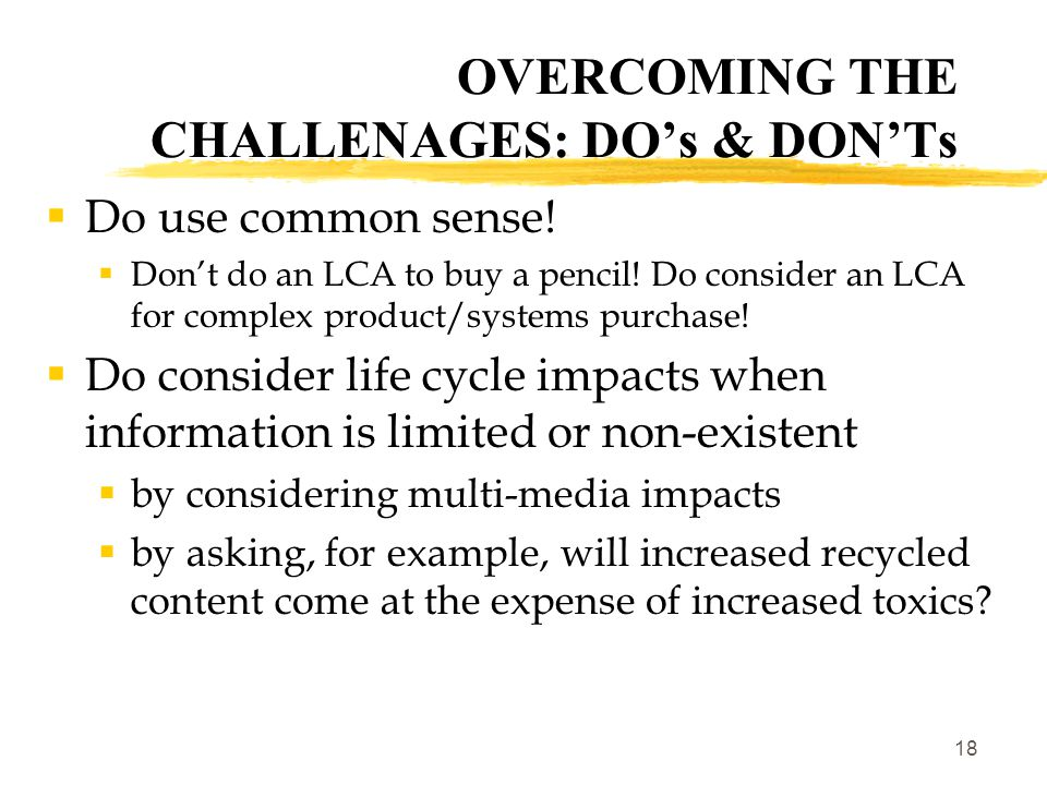 19  Do keep an eye out on a # of initiatives/projects:  Request for Information on Computers  based on LC impacts  will be used for government-wide solicitation  LC Impacts to Attributes project (US EPA)  will develop a methodology to translate LC impacts into specification- friendly product attributes  What about life cycle considerations in services.