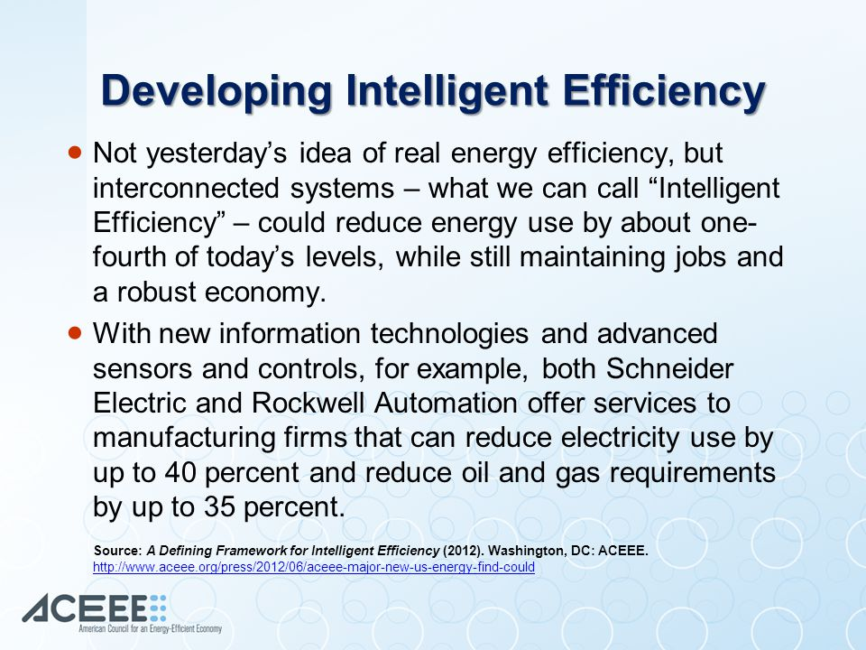 Improving Commercial Buildings  A 2007 DOE-sponsored study suggested that if all commercial buildings were rebuilt by applying a comprehensive package of energy efficiency technologies and practices, they could reduce their typical energy use by 60 percent.