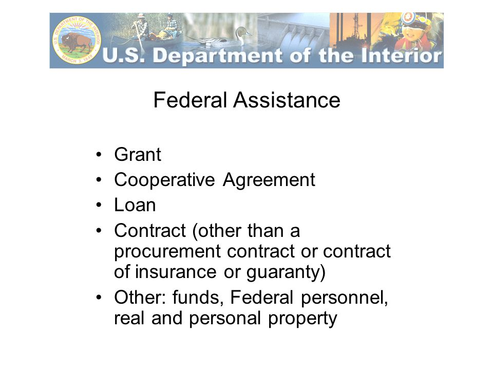 Federal Financial Assistance Includes Training Provision of valuable services at less than market value Commodities/personal property Use of interest in land/real property Other arrangements with the intent of providing assistance