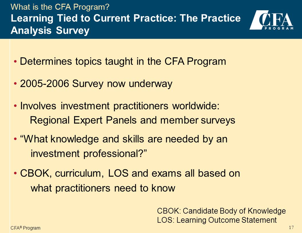 CFA ® Program 18 The CFA Course of Study CFA Body of Knowledge ™ Ethical and Professional Standards Quantitative Methods Economics Financial Statement Analysis Corporate Finance Analysis of Equity Investments Analysis of Debt Investments Analysis of Derivatives Analysis of Alternative Investments Portfolio Management Investment Tools Asset Valuation
