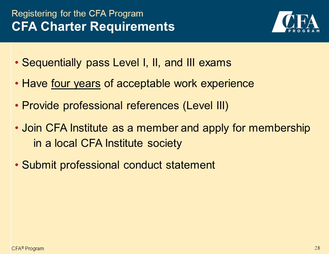 CFA ® Program 29 Registering for the CFA Program 1st Year Program Costs – 2006 Approximate Costs for New Level I Candidates Registration fee to enter CFA ProgramUS $375 Enrollment fee for Level I examination US $360 Level I Curriculum (members' and candidates' price) US $350 Approximate Total Costs for Level I US$1,085 *Registration & Enrollment by 1 st fee deadline.