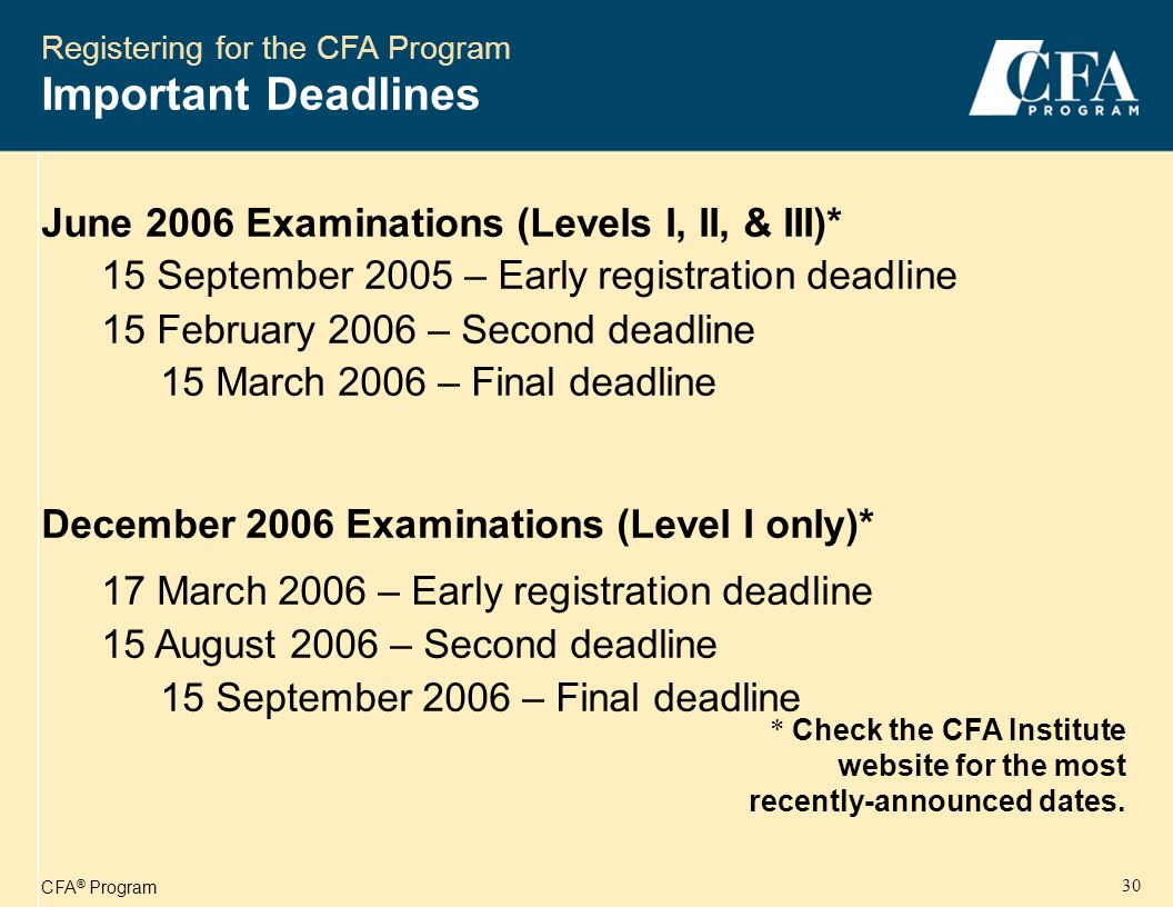 CFA ® Program 31 Registering for the CFA Program Important Deadlines * Check the CFA Institute website for the most recently-announced dates.