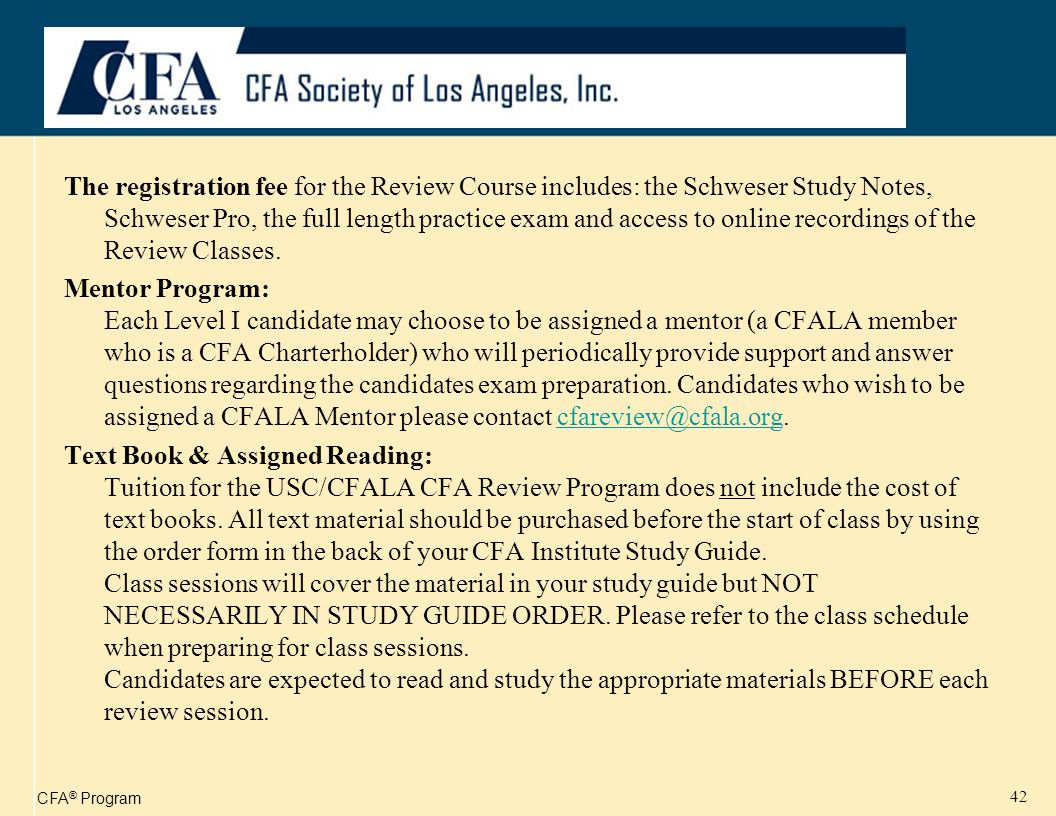 CFA ® Program 43 Example of Online Presentation