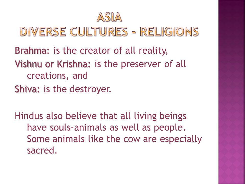 Many Hindus are vegetarians, meaning that they eat no meat.