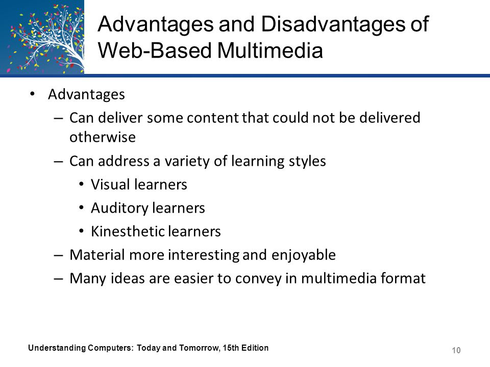 Advantages and Disadvantages of Web-Based Multimedia Disadvantages – Time and cost of development – The cost of hosting and delivering the multimedia needs to be considered – The impact on visitors that have slow Internet connections or low bandwidth caps Understanding Computers: Today and Tomorrow, 15th Edition 11