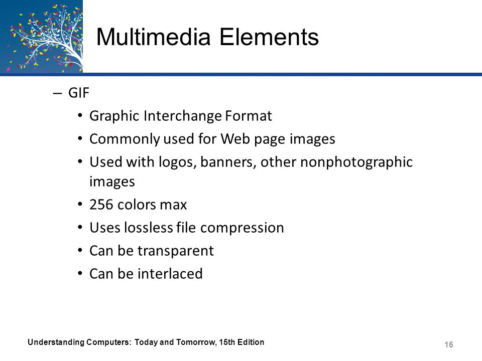 Multimedia Elements Understanding Computers: Today and Tomorrow, 15th Edition 17