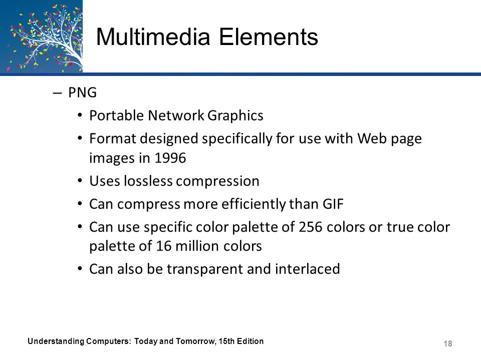 Multimedia Elements – JPEG Joint Photographic Experts Group Standard format for Web page photos Uses lossy file compression – Image quality is lost during compression Can use true color Can be progressive The amount of compression is specified when the file is saved Understanding Computers: Today and Tomorrow, 15th Edition 19