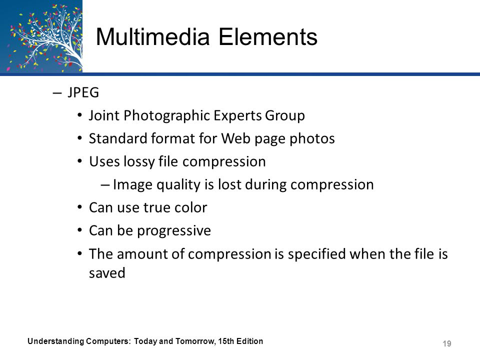 Multimedia Elements Understanding Computers: Today and Tomorrow, 15th Edition 20