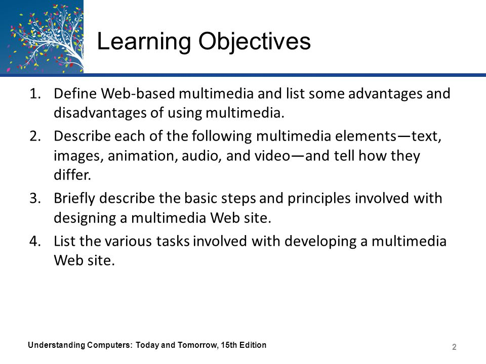 Learning Objectives 5.Explain how markup languages, scripting languages, and other tools are used today to create multimedia Web pages.