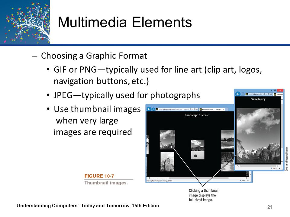 Multimedia Elements Animation – A series of graphical images are displayed in succession to simulate movement – Java Applet A small program inserted into a Web page that performs a specific task – Animated GIF A group of GIF images saved as an animated GIF file that is inserted in a Web page Displayed one after another to simulate movement Understanding Computers: Today and Tomorrow, 15th Edition 22