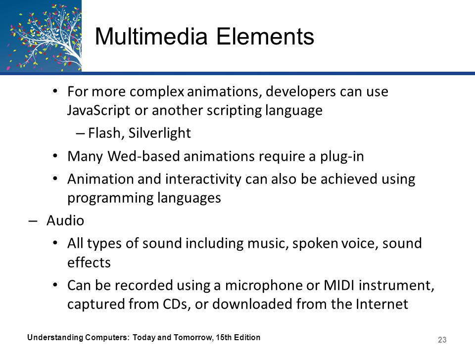 Multimedia Elements – Often played when an event occurs on a Web page or when the visitor clicks a link – Streaming audio is used to speed up delivery – Common audio file formats include: Waveform (.wav) Moving Picture Experts Group Audio Layer 3 (.mp3) Audio Interchange Format File (.aiff) Advanced Audio Coding (.aac or.m4a) Understanding Computers: Today and Tomorrow, 15th Edition 24