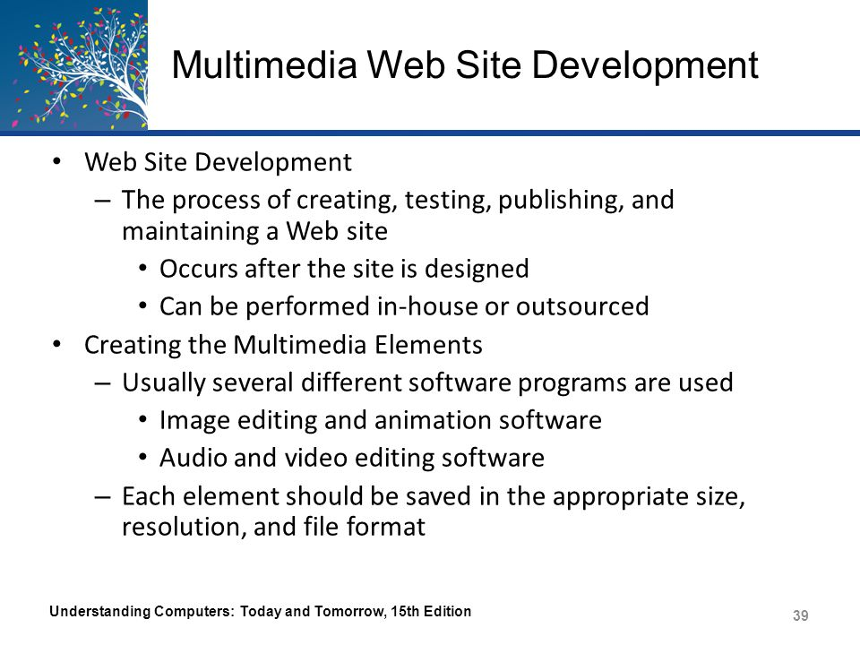 Multimedia Web Site Development Creating the Web Site – Markup Language Uses symbols or tags to describe what a document should look like when it is displayed in a Web browser – JavaScript or other scripting languages can be used to add dynamic content – Web site authoring software is often used to create an entire site Understanding Computers: Today and Tomorrow, 15th Edition 40