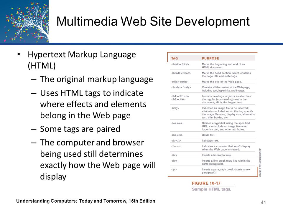Multimedia Web Site Development Understanding Computers: Today and Tomorrow, 15th Edition 42