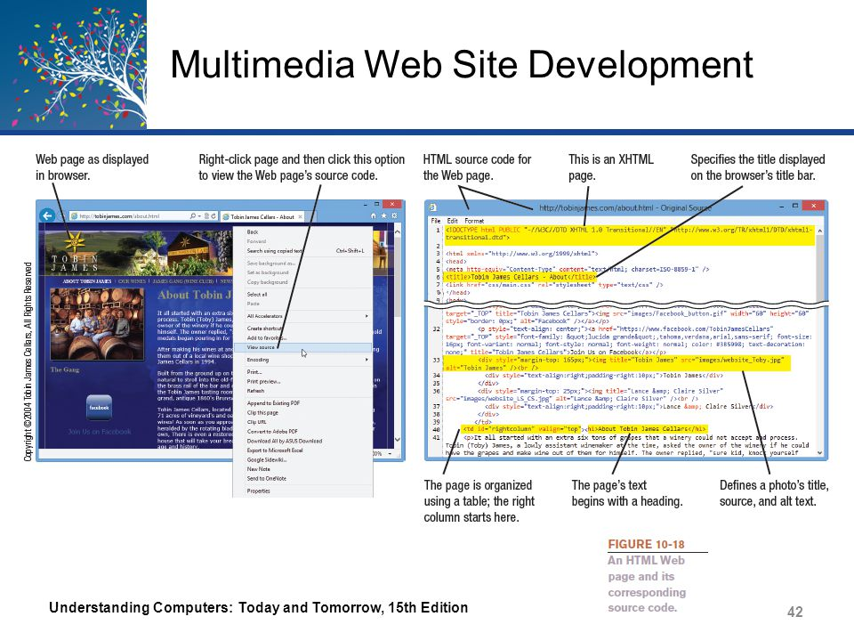 Multimedia Web Site Development Extensible Markup Language (XML) – A set of rules for exchanging data over the Web – Addresses the content but not the formatting – Uses XML tags to identify data – Allows data to be extracted and reused as needed Extensible Hypertext Markup Language (XHTML) – A newer version of HTML based on XML – Controls the appearance and format of a Web page like HTML – Stricter rules than HTML Understanding Computers: Today and Tomorrow, 15th Edition 43