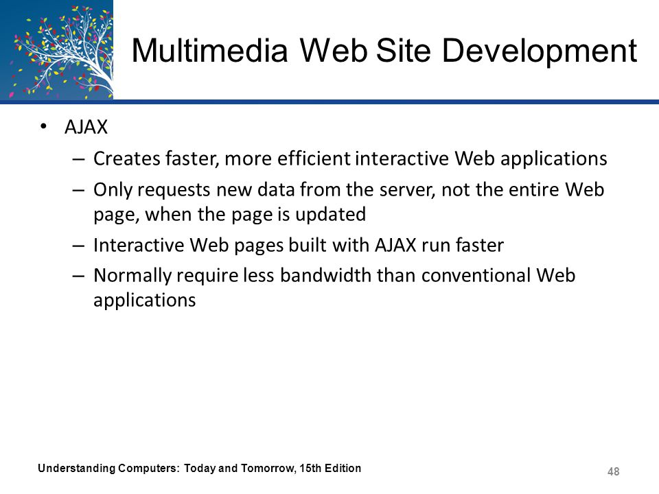 Multimedia Web Site Development ActiveX – Set of specifications for reusing software components that can be sued to integrate multimedia and other interactive elements into Web pages – Extends OLE (Object Linking and Embedding) to integrate content from two or more programs – Allows a variety of types of Windows files to be viewed via Web pages Virtual Reality Modeling Language (VRML) and X3D – A language used to create 3D Web pages – Successor is X3D Understanding Computers: Today and Tomorrow, 15th Edition 49