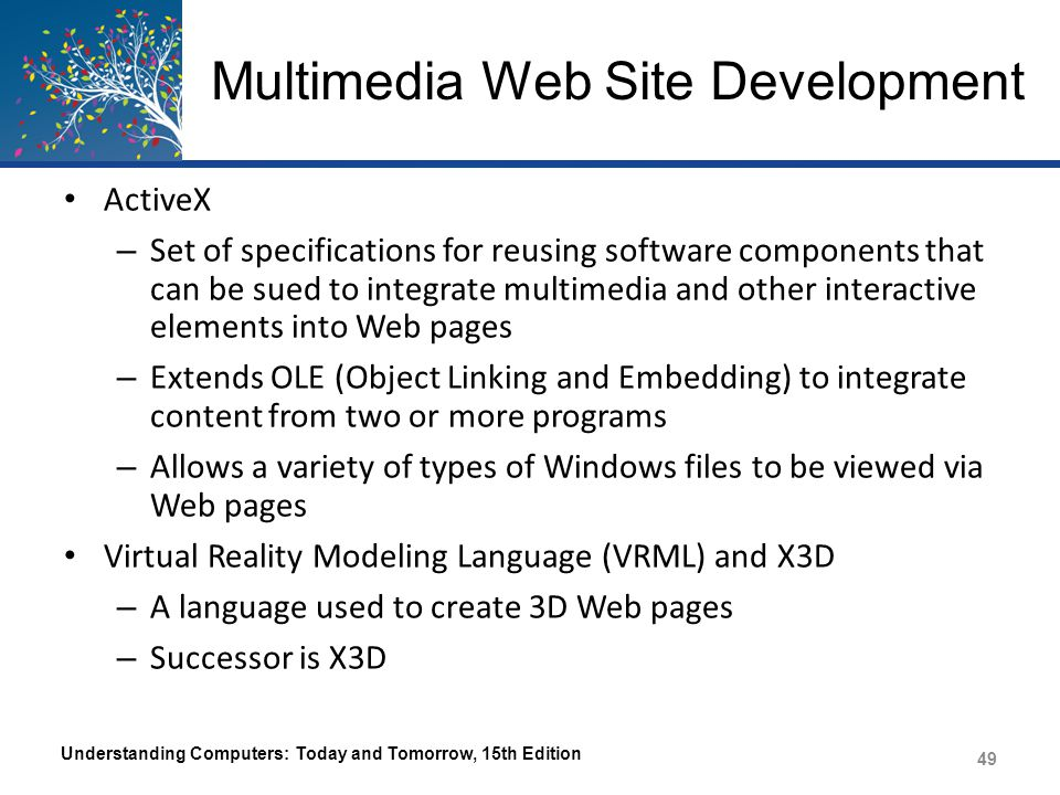 Trend Box Push Technology and xRTML – Conventional Web pages have the user pull data from the server – Push technology delivers content automatically as it becomes available – One emerging option for Web sites and apps for all devices is xRTML – Delivers data in a timely manner and saves data transfer costs Understanding Computers: Today and Tomorrow, 15th Edition 50