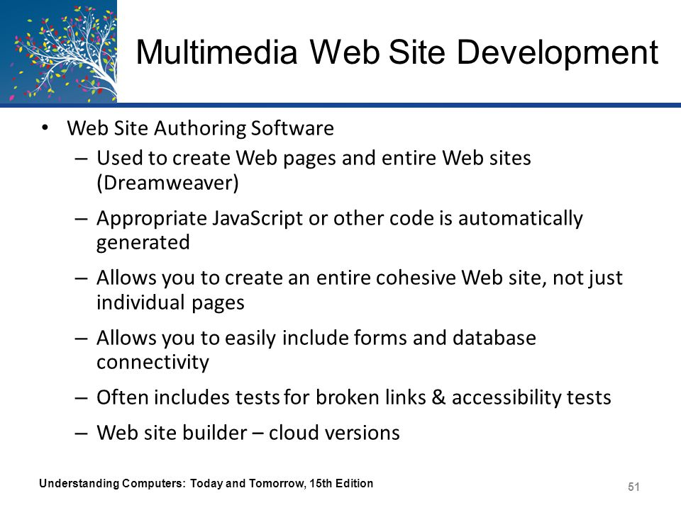 Multimedia Web Site Development Understanding Computers: Today and Tomorrow, 15th Edition 52